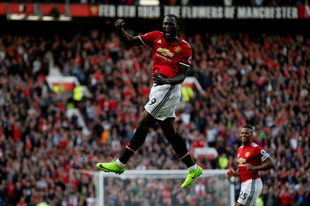 Manchester United's Romelu Lukaku celebrates scoring their third goal against Everton at the Premier League game at Old Trafford, in Manchester, Britain on September 17, 2017. PHOTO: REUTERS