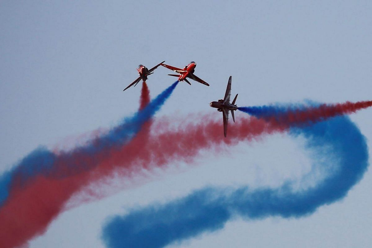 The Red Arrows RAF aerobatics display team performs during the 6th Athens Flying Week aviation event over the Tanagra air base in Athens, on Sept 17, 2017.