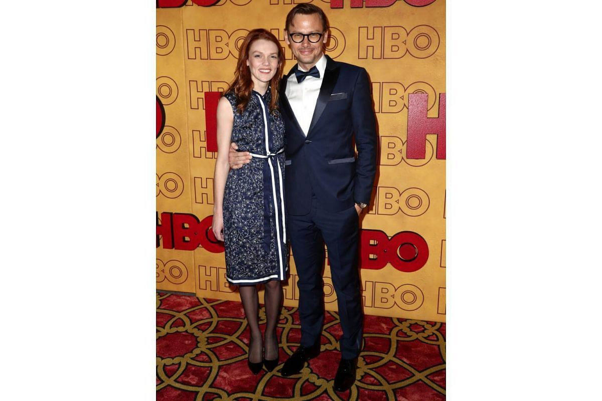 Jimmi Simpson and guest attend HBO's Post Emmy Awards Reception at The Plaza at the Pacific Design Center in Los Angeles, California, on Sept 17, 2017.