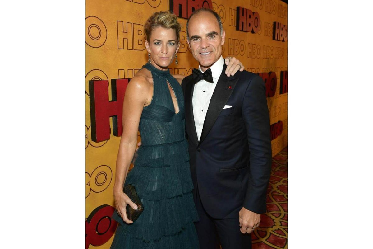 Karyn Kelly and Michael Kelly attend HBO's Post Emmy Awards Reception at The Plaza at the Pacific Design Center in Los Angeles, on Sept 17, 2017.