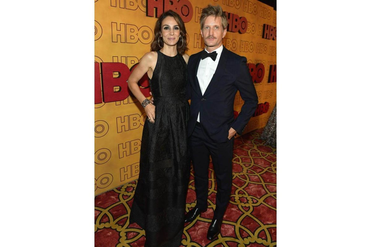 Annie Parisse and Paul Sparks attend HBO's Post Emmy Awards Reception at The Plaza at the Pacific Design Center in Los Angeles, on Sept 17, 2017.