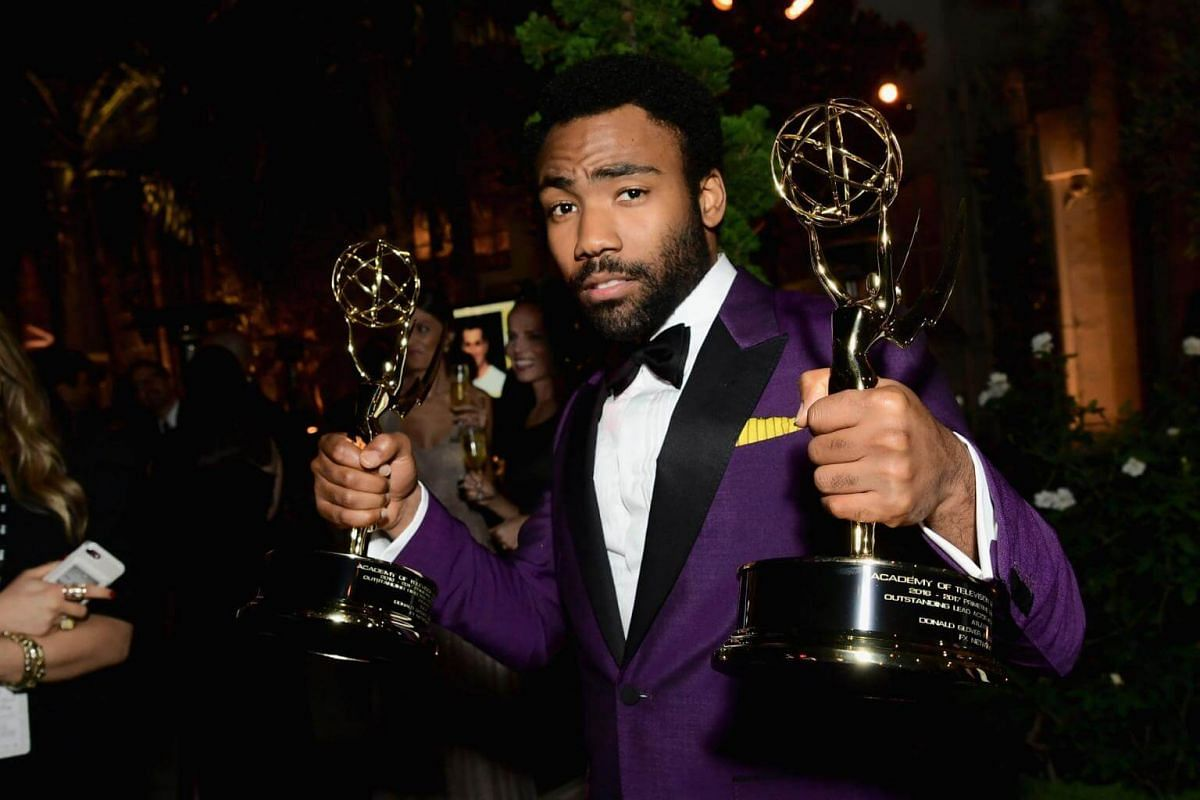Donald Glover attends Fox Broadcasting Company, Twentieth Century Fox Television, FX And National Geographic 69th Primetime Emmy Awards After Party at Vibiana in Los Angeles, California, on Sept 17, 2017.
