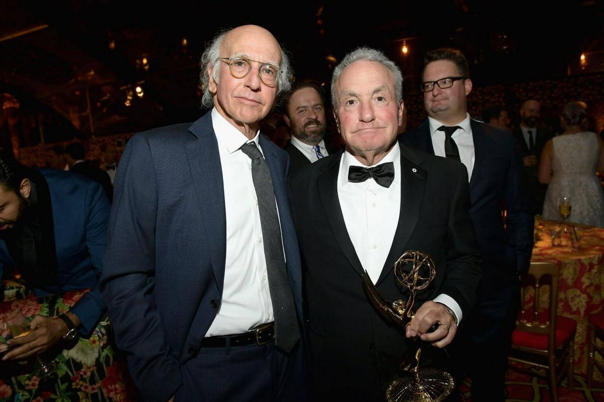 Larry David and Lorne Michaels attend HBO's Post Emmy Awards Reception at The Plaza at the Pacific Design Center in Los Angeles, on Sept 17, 2017.