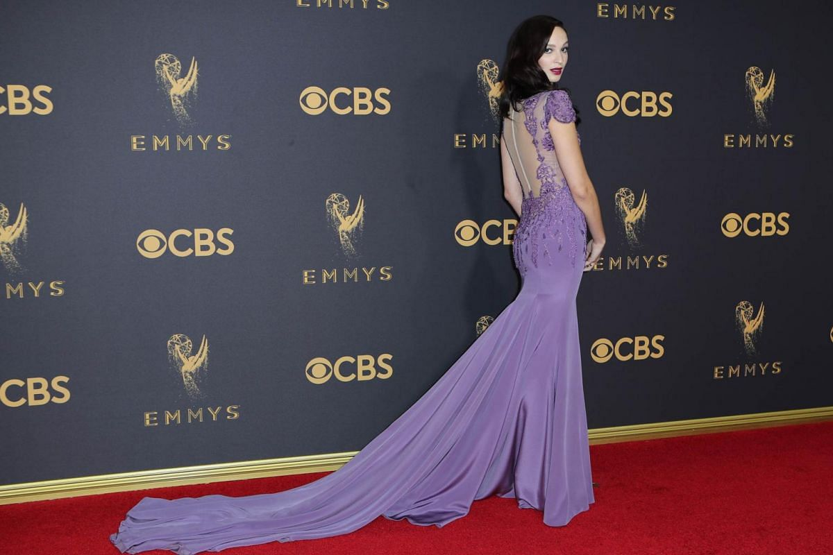 Ruby Modine, who stars in Shameless, poses for photographers at the red carpet at the 69th Primetime Emmy Awards in Los Angeles, California, on Sept 17, 2017.