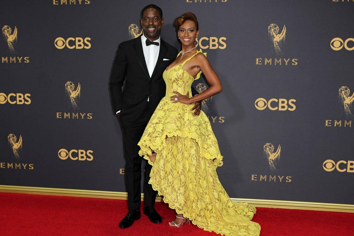 This Is Us star Sterling K. Brown and wife Ryan Michelle Bathe on the 69th Primetime Emmy Awards in Los Angeles, California, on Sept 17, 2017.