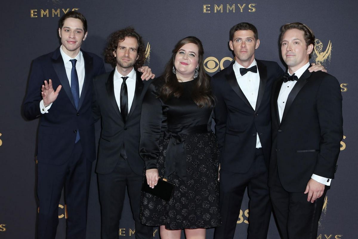 The gang from Saturday Night Live: (from left) Pete Davidson, Kyle Mooney, Aidy Bryant, Mikey Day and Beck Bennett at the 69th Primetime Emmy Awards in Los Angeles, California, on Sept 17, 2017.