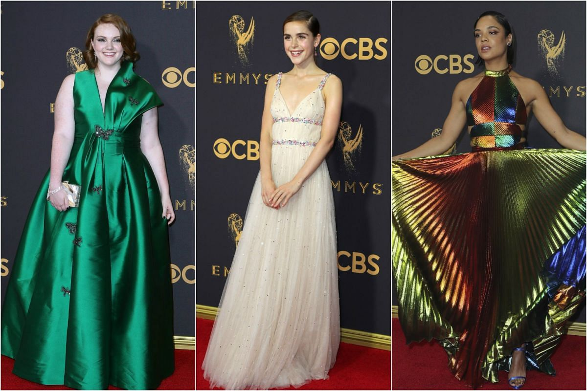 (From left) Shannon Purser, Kiernan Shipka and Tessa Thompson arrive at the 69th Primetime Emmy Awards in Los Angeles, California, on Sept 17, 2017.