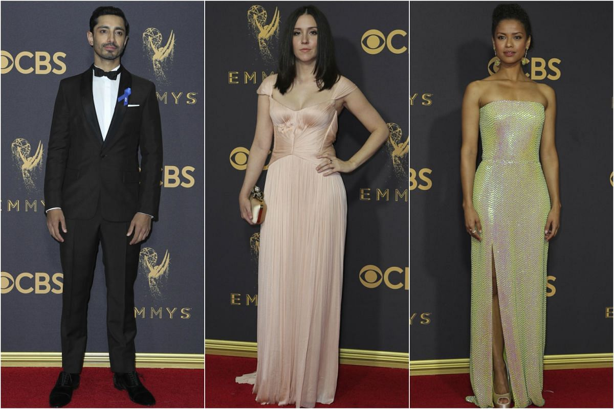 (From left) Riz Ahmed,  Shannon Woodward and Gugu Mbatha-Raw arrive at the 69th Primetime Emmy Awards in Los Angeles, California, on Sept 17, 2017.