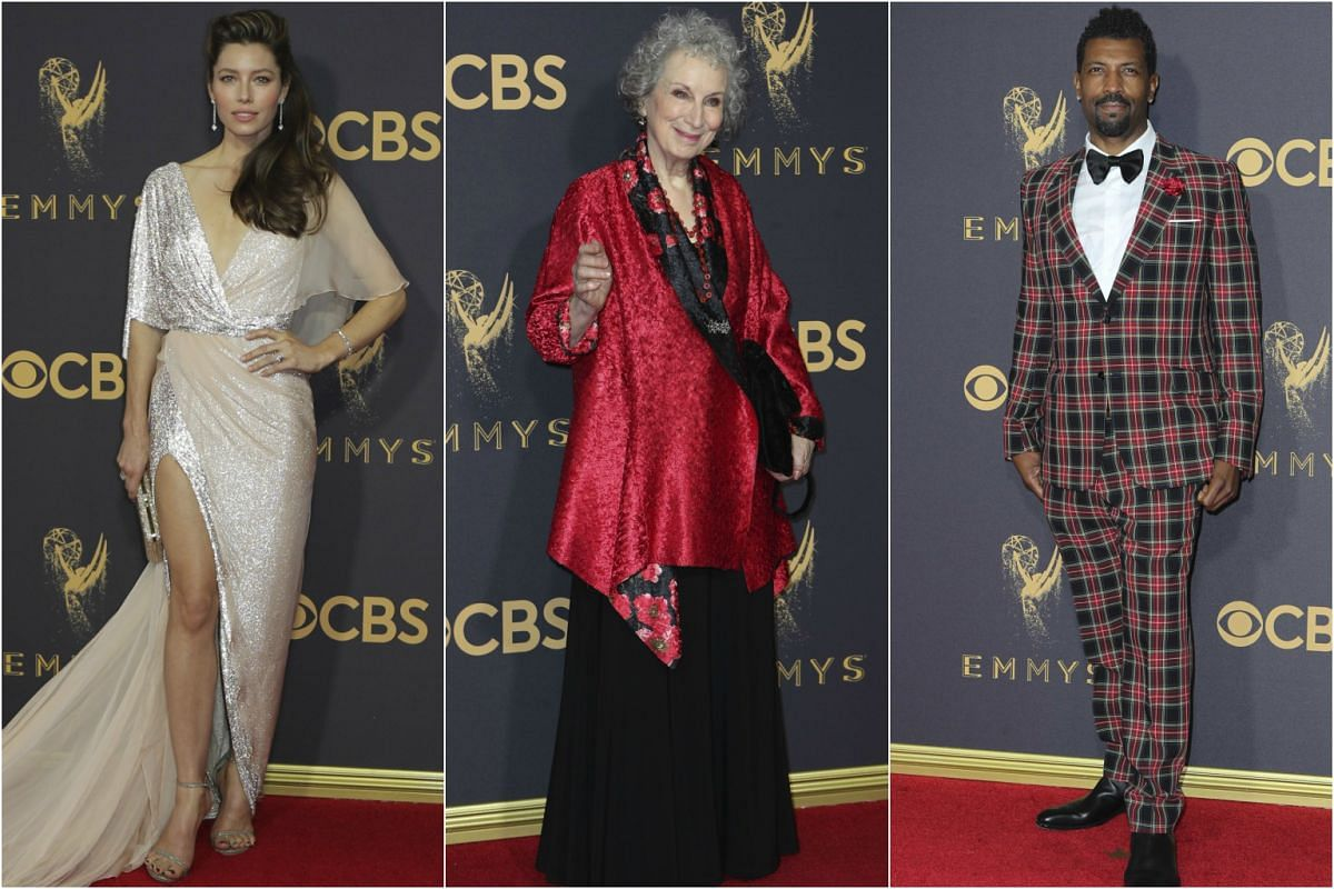 (From left) Jessica Biel, Margaret Atwood and Deon Cole arrive at the 69th Primetime Emmy Awards in Los Angeles, California, on Sept 17, 2017.