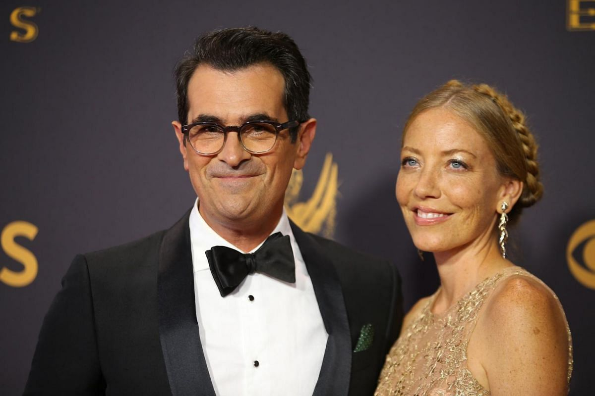 Modern Family's Ty Burrell and his wife Holly Burrell on the red carpet at the 69th Primetime Emmy Awards in Los Angeles, California, on Sept 17, 2017.