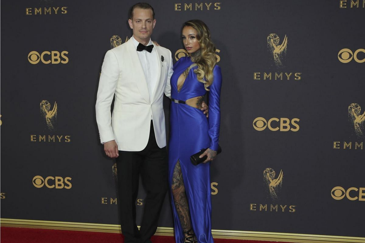 House Of Cards' Joel Kinnaman and wife Cleo Wattenstrom arrive at the 69th Primetime Emmy Awards in Los Angeles, California, on Sept 17, 2017.