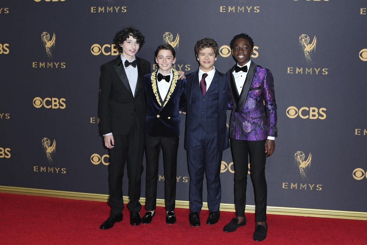 The kids from Stranger Things: (from left) Finn Wolfhard, Noah Schnapp, Gaten Matarazzo and Caleb Mclaughlin at the 69th Primetime Emmy Awards in Los Angeles, California, on Sept 17, 2017.