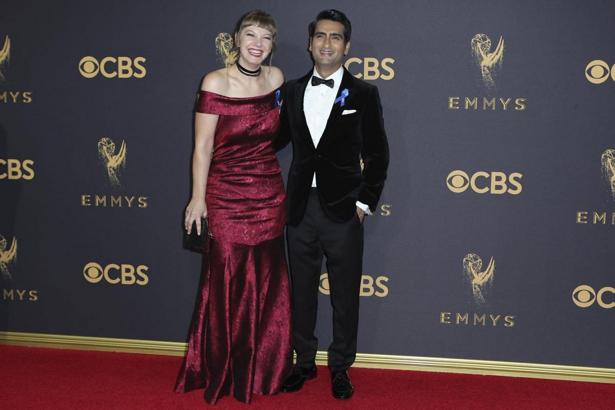 Silicon Valley's Kumail Nanjiani and his wife Emily V. Gordon at the 69th Primetime Emmy Awards in Los Angeles, California, on Sept 17, 2017.