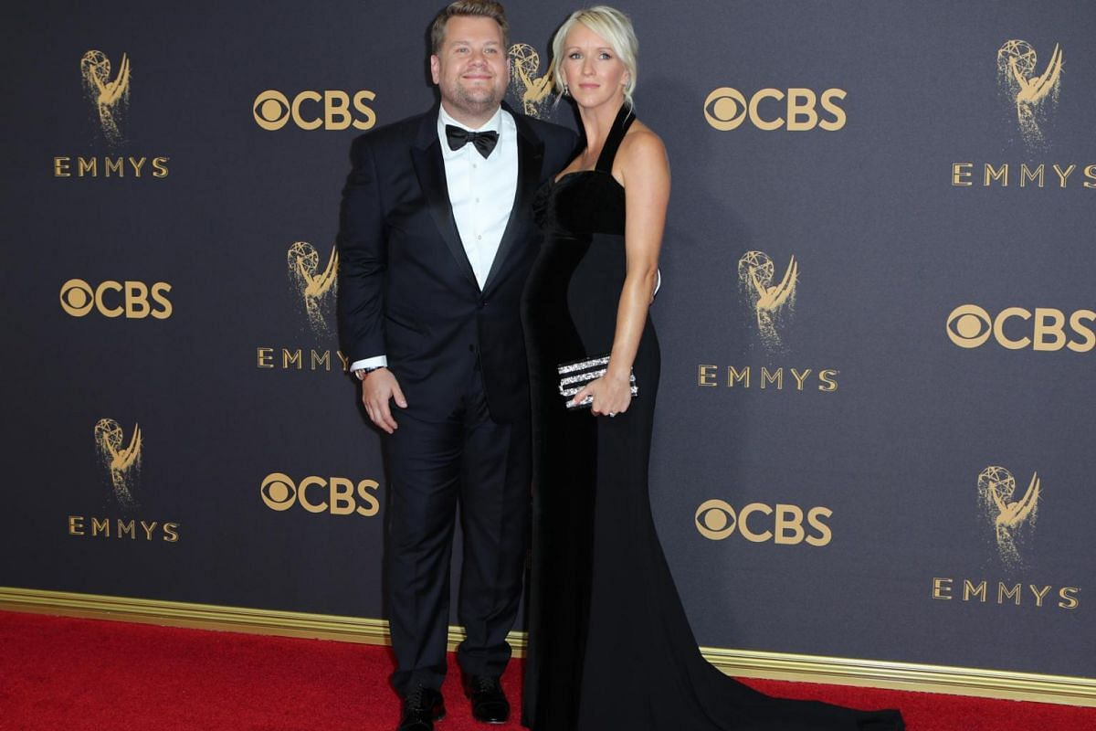 Talk show host James Corden and his wife Julia Carey on the red carpet at the 69th Primetime Emmy Awards in Los Angeles, California, on Sept 17, 2017.