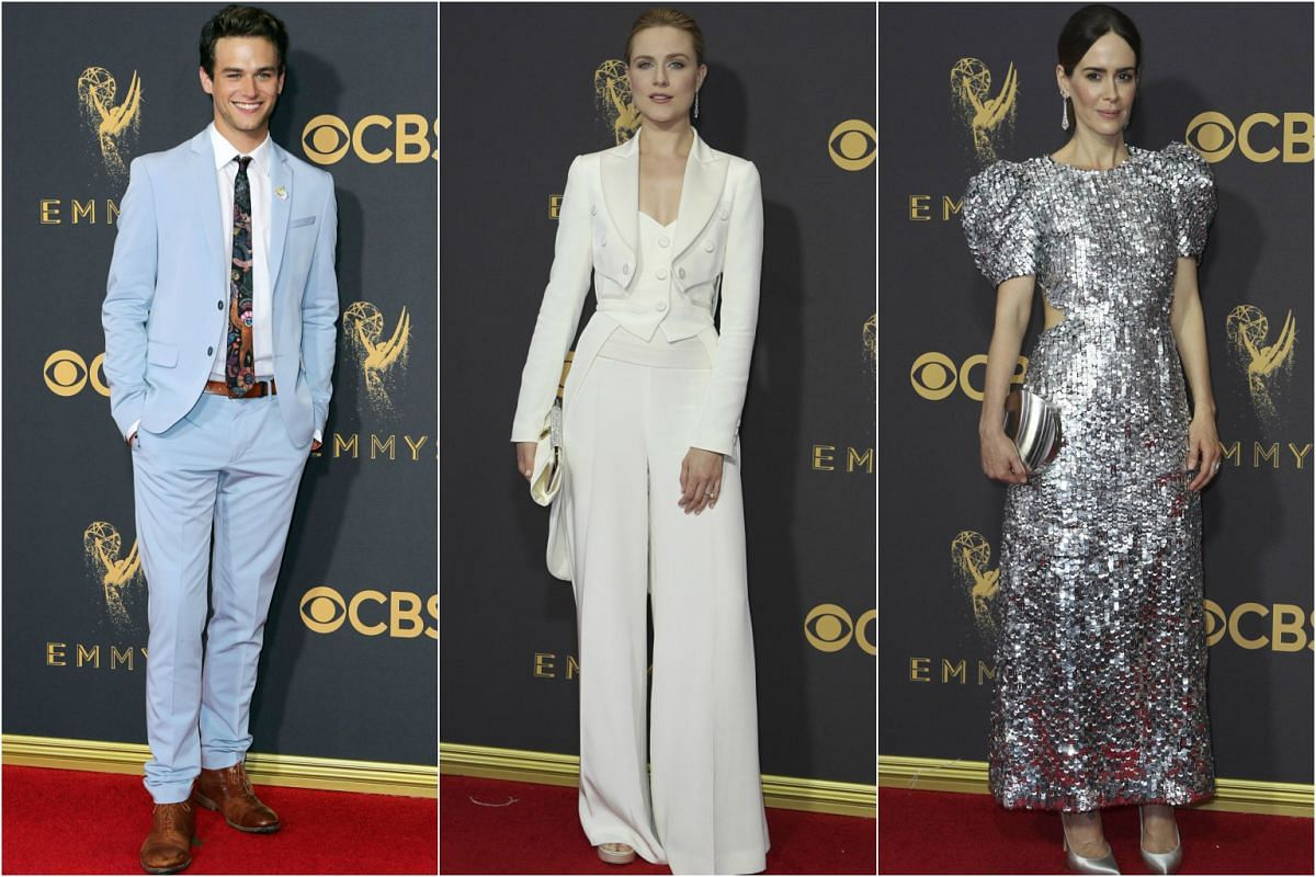 (From left) Brandon Flyn, Evan Rachel Wood and Sarah Paulson arrive at the 69th Primetime Emmy Awards in Los Angeles, California, on Sept 17, 2017.