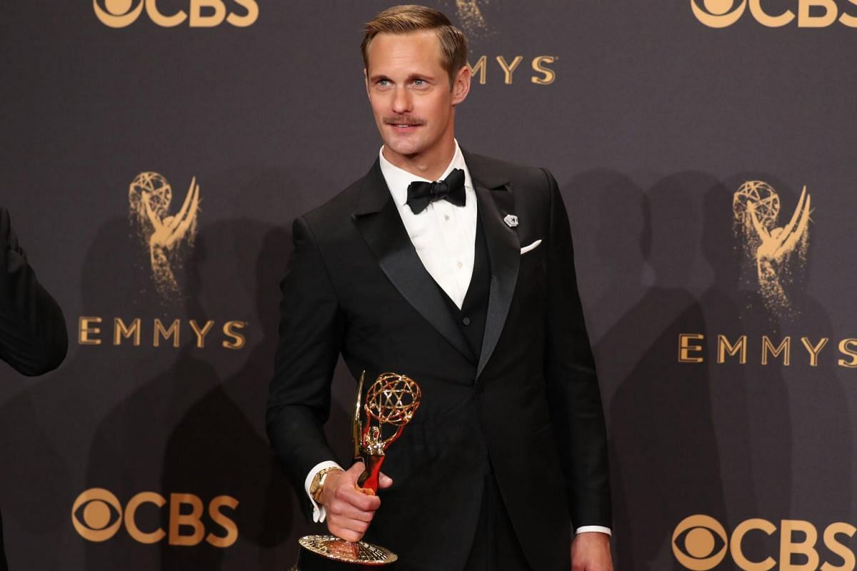 Alexander Skarsgard poses with his Emmy for Outstanding Supporting Actor in a Limited Series for Big Little Lies.