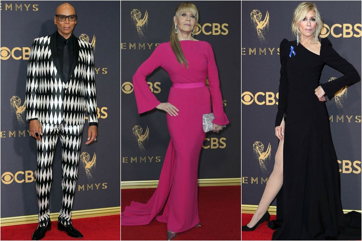 (From left) RuPaul, Jane Fonda and Judith Light arrive at the 69th Primetime Emmy Awards in Los Angeles, California, on Sept 17, 2017.