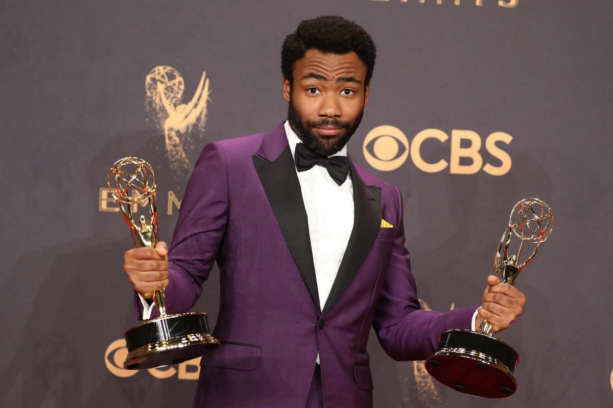 Donald Glover poses with the award for Outstanding Lead Actor in a Comedy Series for Atlanta.