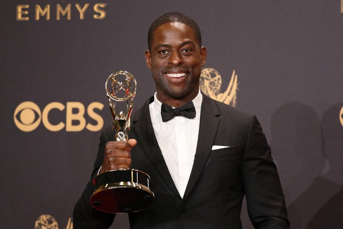 Sterling K. Brown holds his Emmy for Outstanding Lead Actor in a Drama Series for This Is Us.