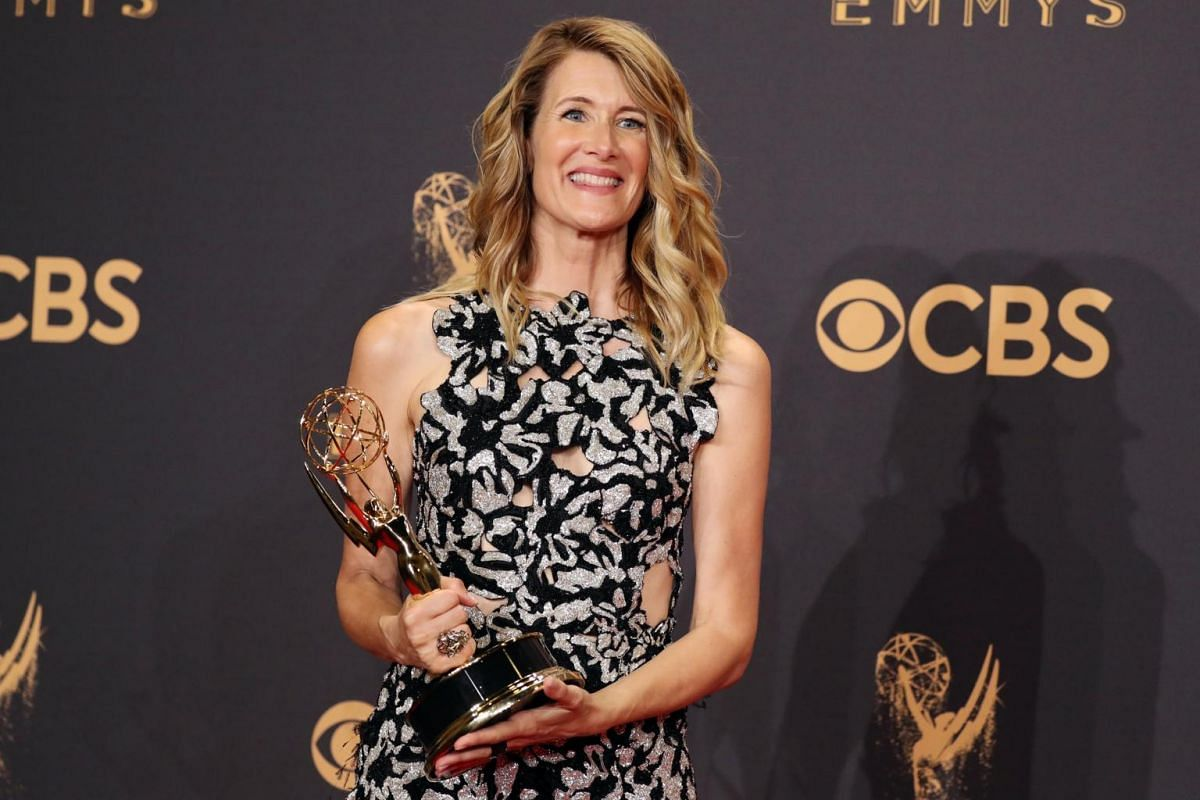 Laura Dern holds her Emmy for Outstanding Supporting Actress in a Limited Series or Movie for Big Little Lies.