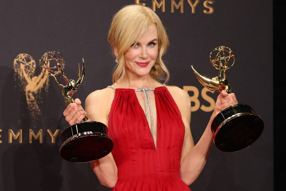 Nicole Kidman poses with the Emmys for Outstanding Limited Series and Outstanding Lead Actress in Limited Series for Big Little Lies.