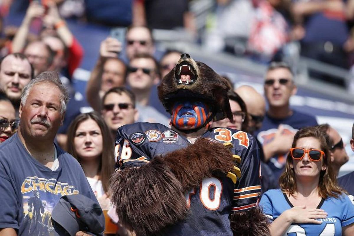Bears fans stand for the national anthem prior to the start of the game between the Chicago Bears and the Atlanta Falcons at Soldier Field on Sept 10, 2017 in Chicago, Illinois.