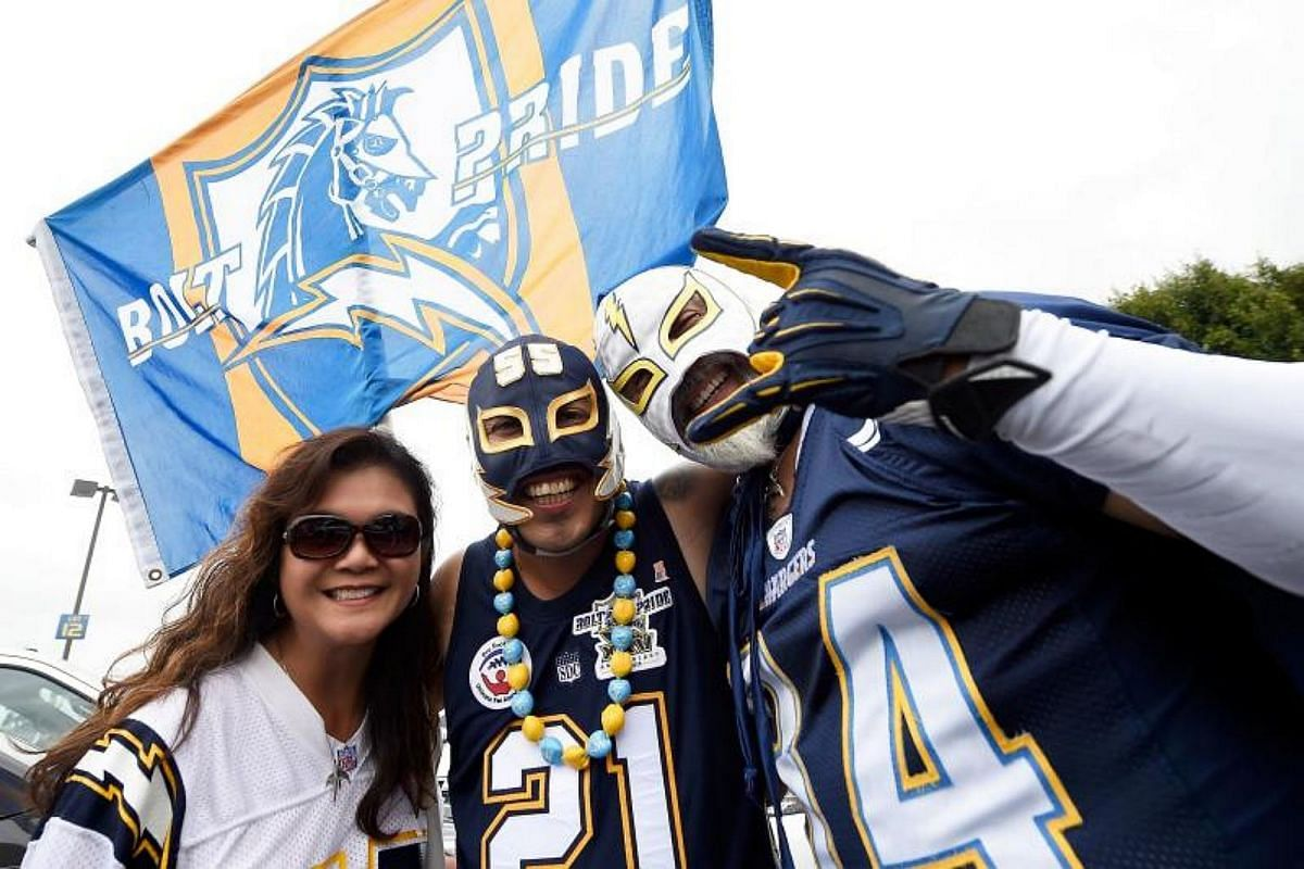 Los Angeles Chargers fans are seen before their NFL game against the Miami Dolphins at the StubHub Center on Sept 17, 2017 in Carson, California.