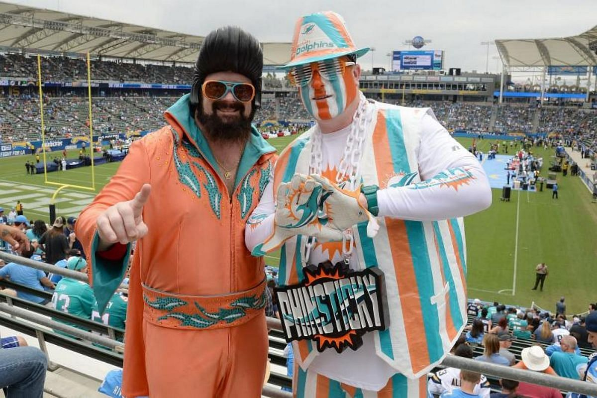 Miami Dolphins fans are seen during the game between the Los Angeles Chargers and the Miami Dolphins at the StubHub Center on Sept 17, 2017 in Carson, California.