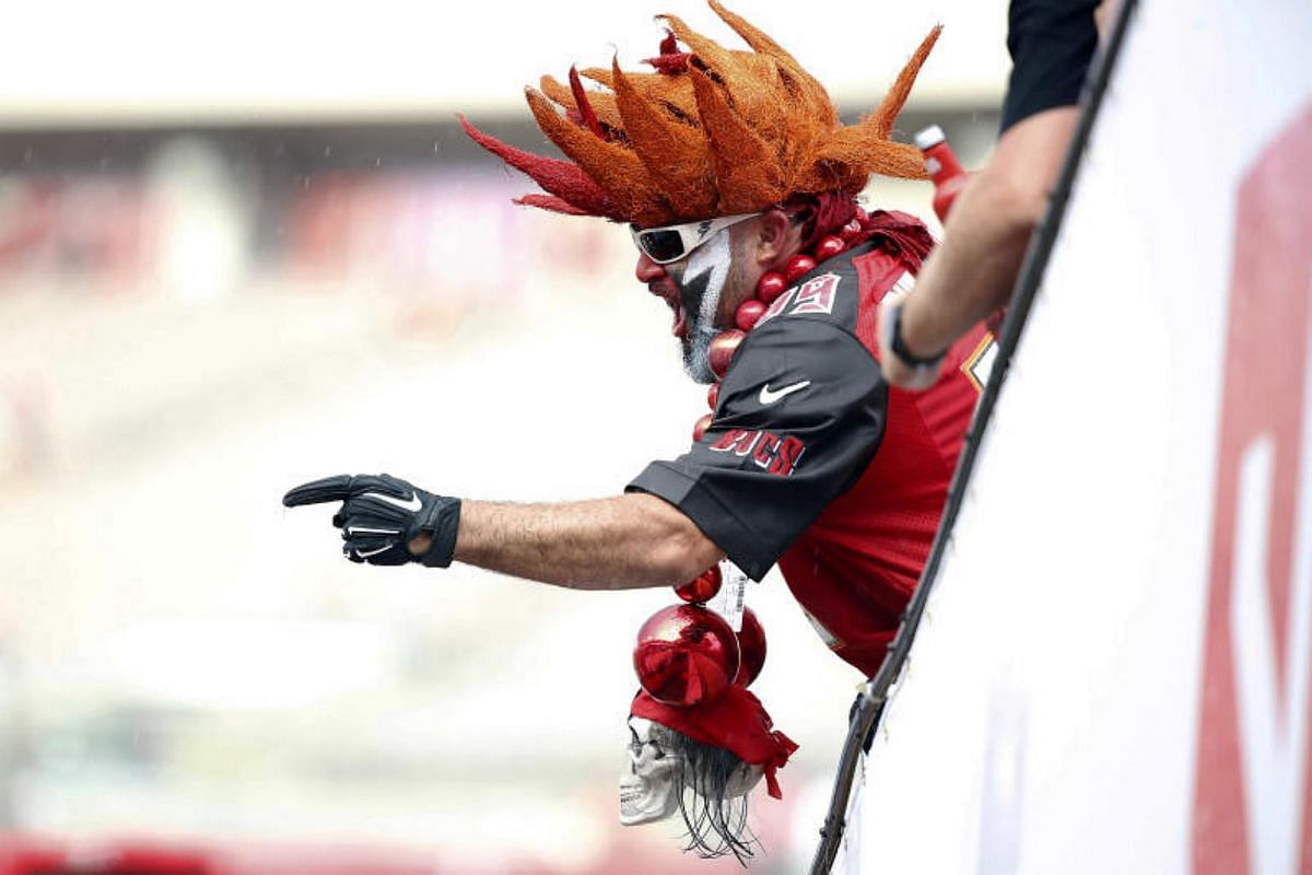 Tampa Bay Buccaneers fans cheer prior to a game against the Cleveland Browns at Raymond James Stadium.