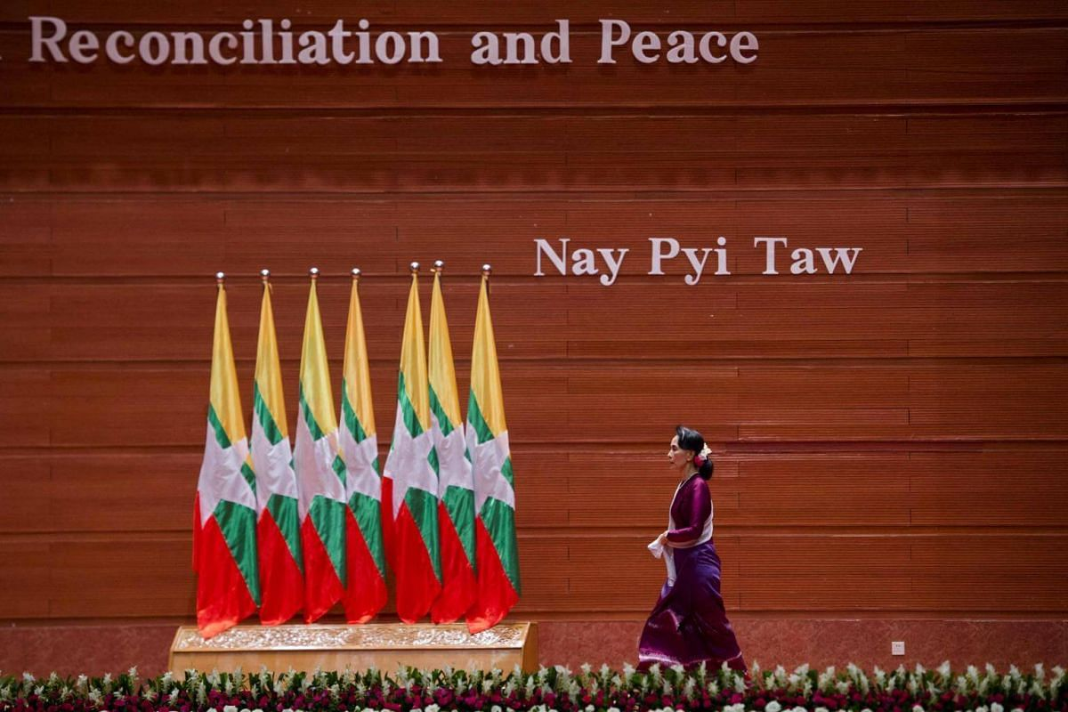 Myanmar's State Counsellor Aung San Suu Kyi arrives to deliver a national address in Naypyidaw, on Sept 19, 2017.