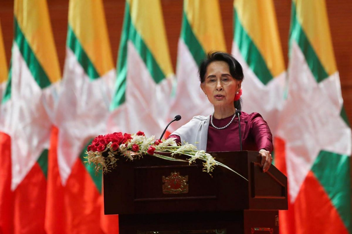 Myanmar's State Counsellor Aung San Suu Kyi delivers a national address in Naypyidaw, on Sept 19, 2017.
