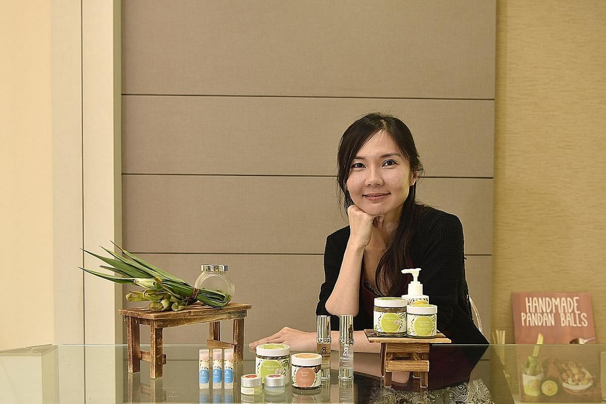 Home-run skincare label Ress founder Sara Soong (left) uses pandan as the key ingredient in her products, such as a pandan leaf scrub and a body lotion with pandan and avocado.