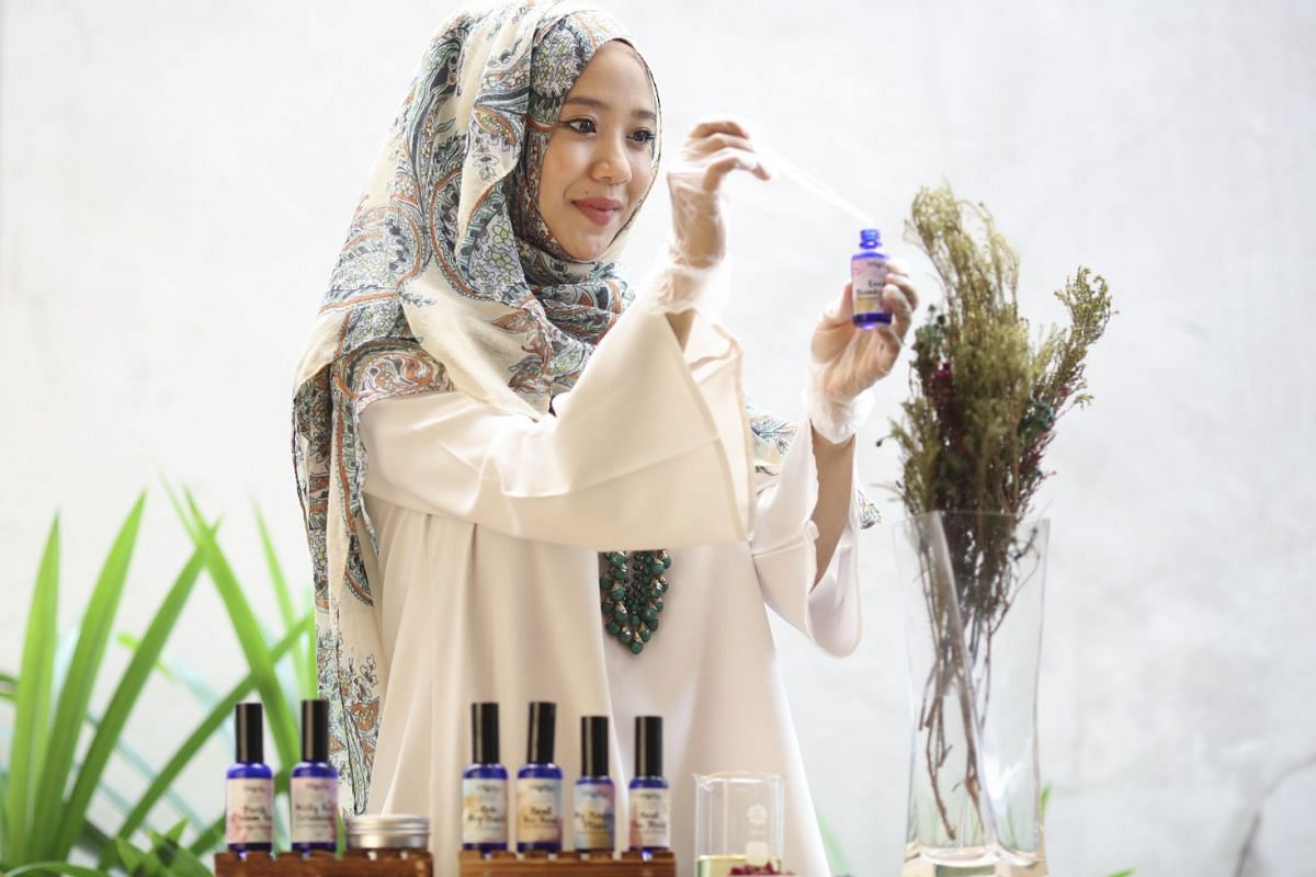 Mother-of-two Aisha Alhadad makes facial mists and body scrubs at home for her beauty label WhiffLove.