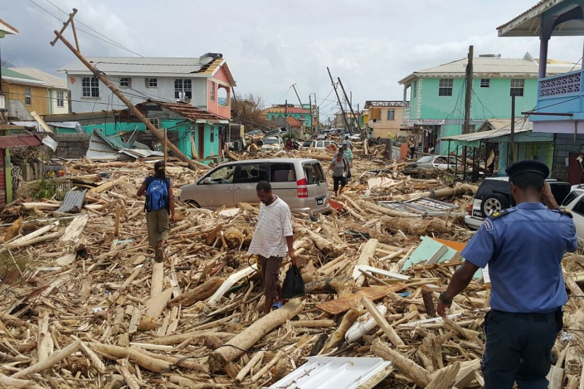 View of damage caused the day before by Hurricane Maria in Roseau, Dominica, on Sept 20, 2017.