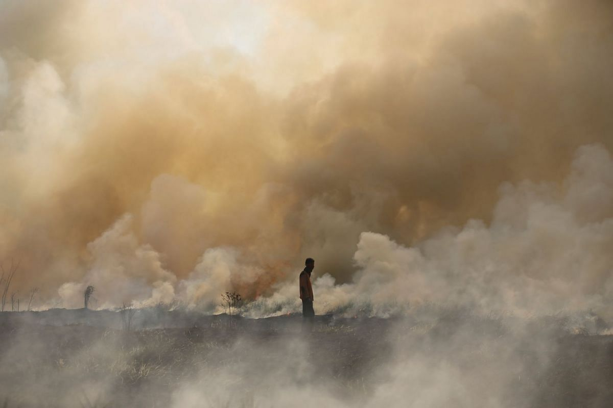 A disaster management officer walks towards a brush fire as other firefighters (not pictured) attempt to extinguish it near Palembang, South Sumatra, Indonesia September 21, 2017 in this photo taken by Antara Foto. PHOTO: REUTERS/ANTARA FOTO/HANDOUT