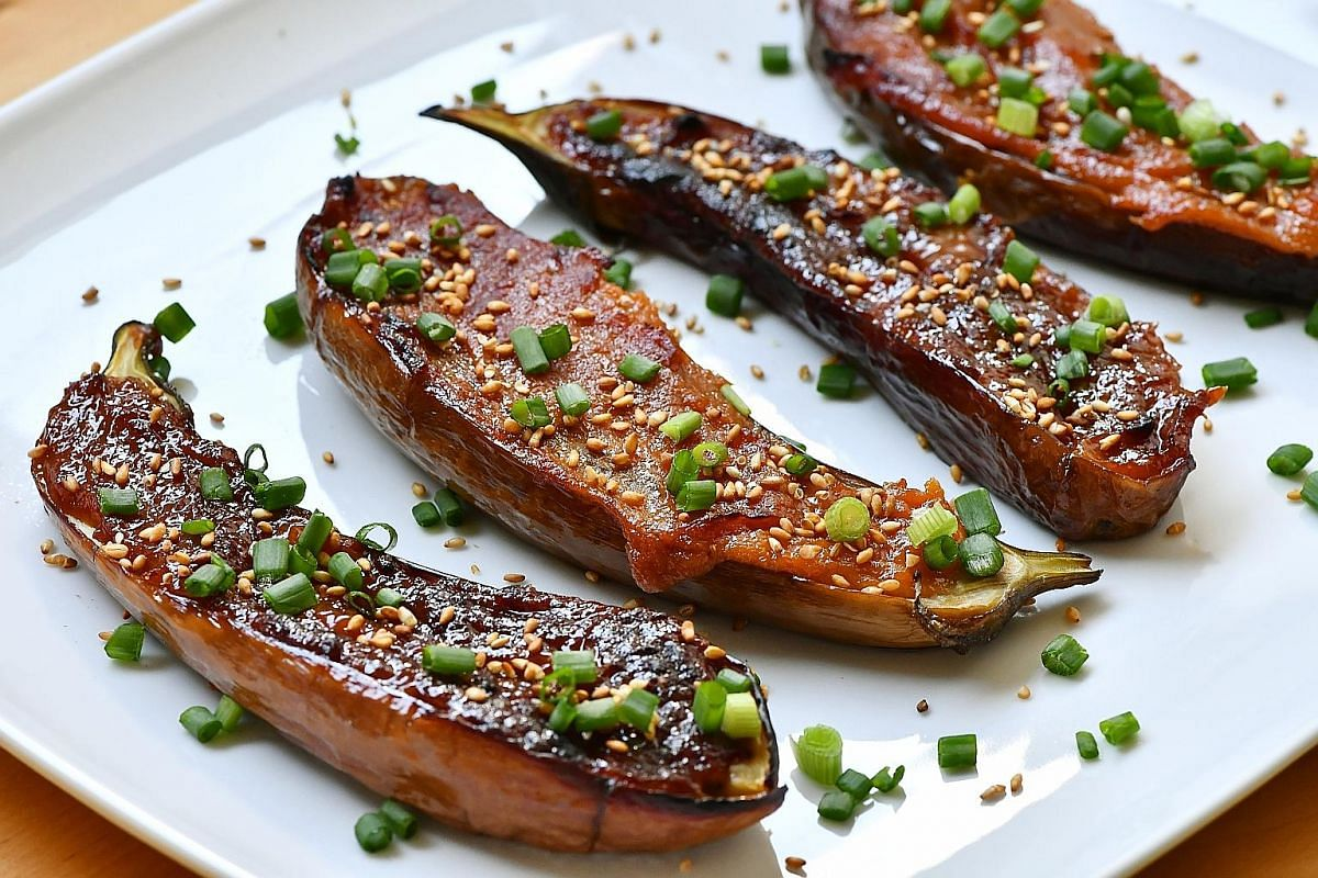 Eating the miso-glazed eggplant with rice mitigates some of the saltiness from the miso.