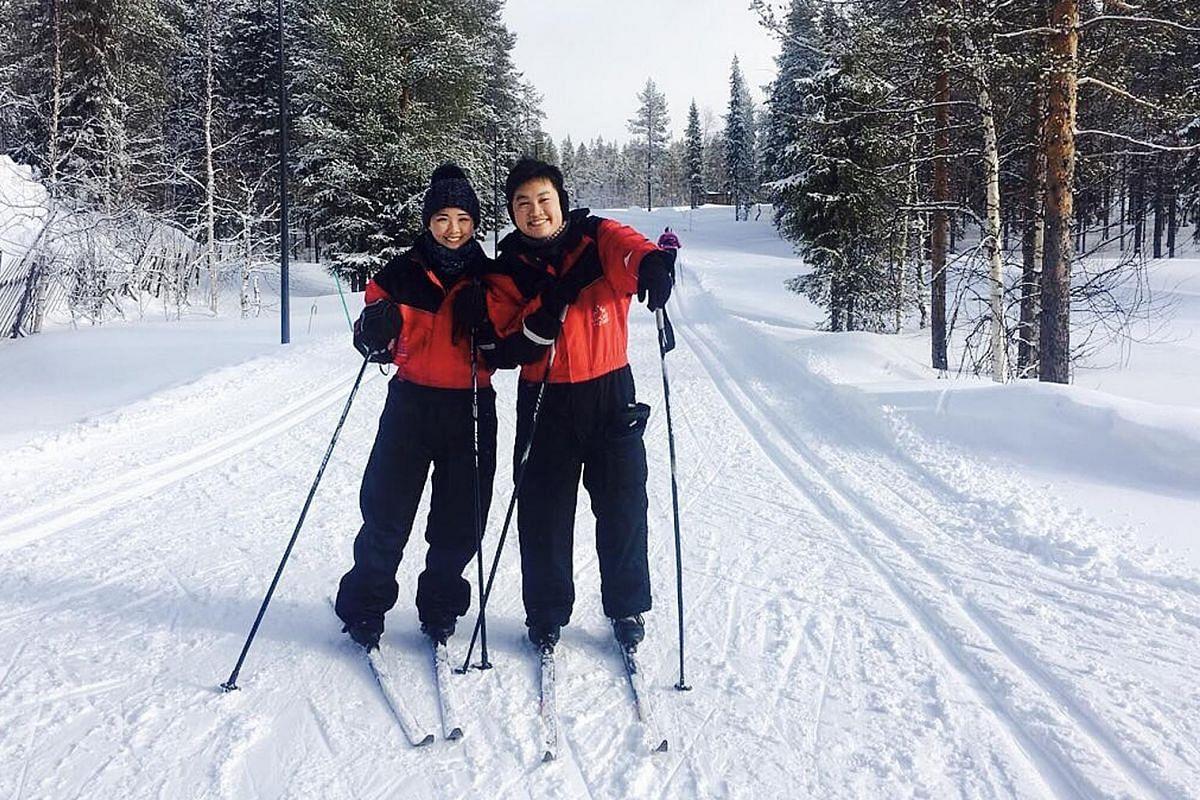 Newlyweds Faith Wong and Nicholas Lim in Levi, Finland, on their honeymoon.