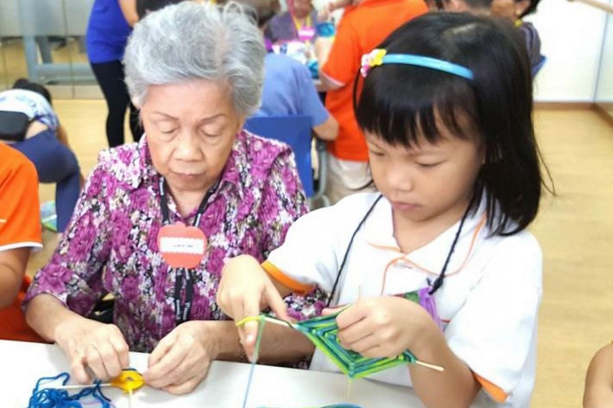 Pre-schoolers and the elderly from daycare centres created art together for the recent Silver Arts Festival.