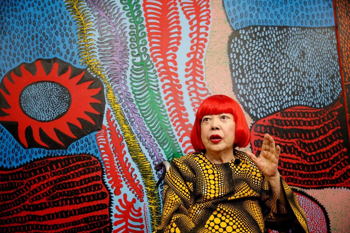 Japanese avant-garde artist Yayoi Kusama speaking to journalists at her studio in Tokyo, Japan, on Sept 26, 2017.