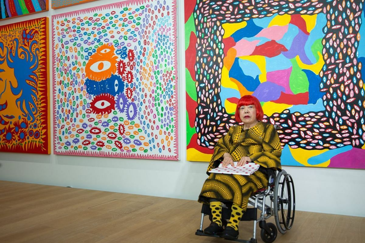Japanese artist Yayoi Kusama at the media preview of the Yayoi Kusama Museum in Tokyo, Japan, on 26 Sept, 2017.