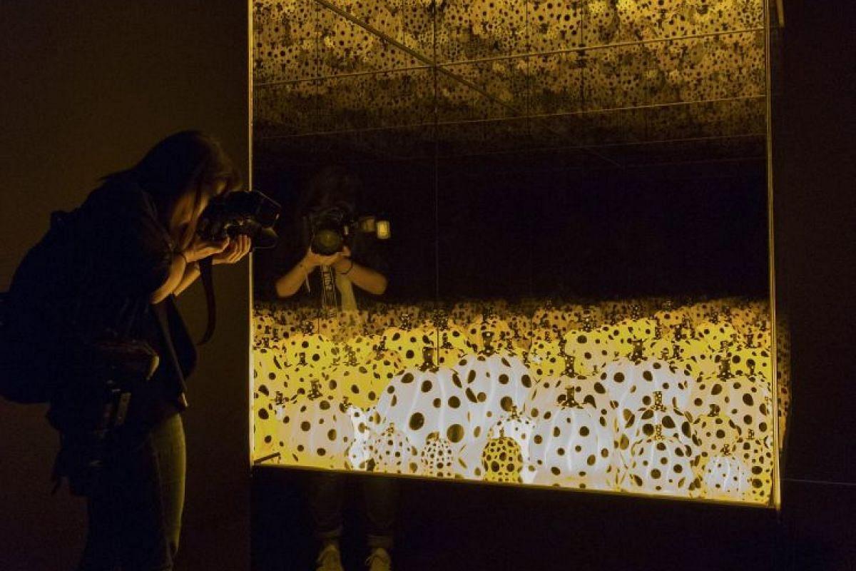 Pumpkins Screaming About Love Beyond Infinity by Japanese artist Yayoi Kusama.