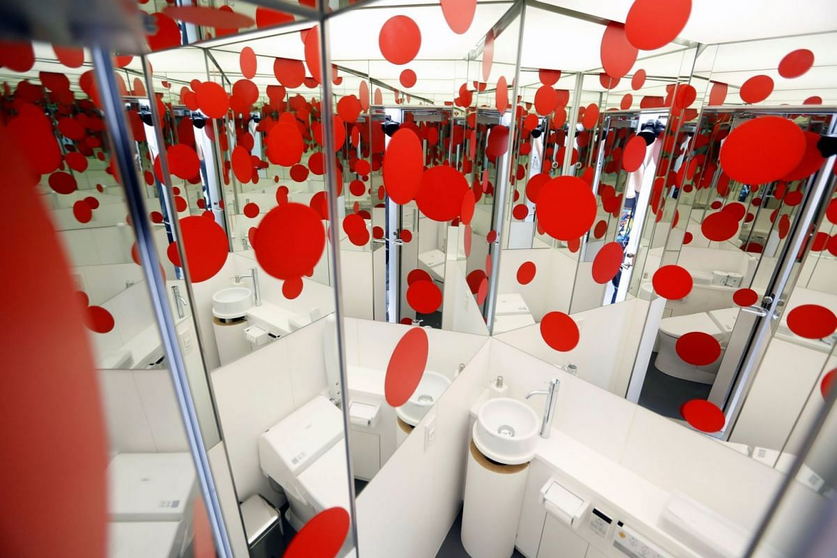 Yayoi Kusama's signature red polka dots can even be found in the restroom of the Yayoi Kusama Museum in Tokyo, Japan.