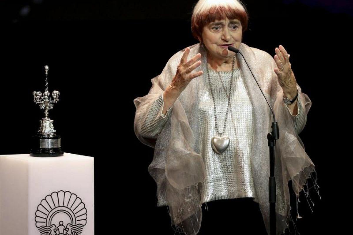 French film director Agnes Varda receives the Donostia Award during a ceremony at the San Sebastian Film Festival.