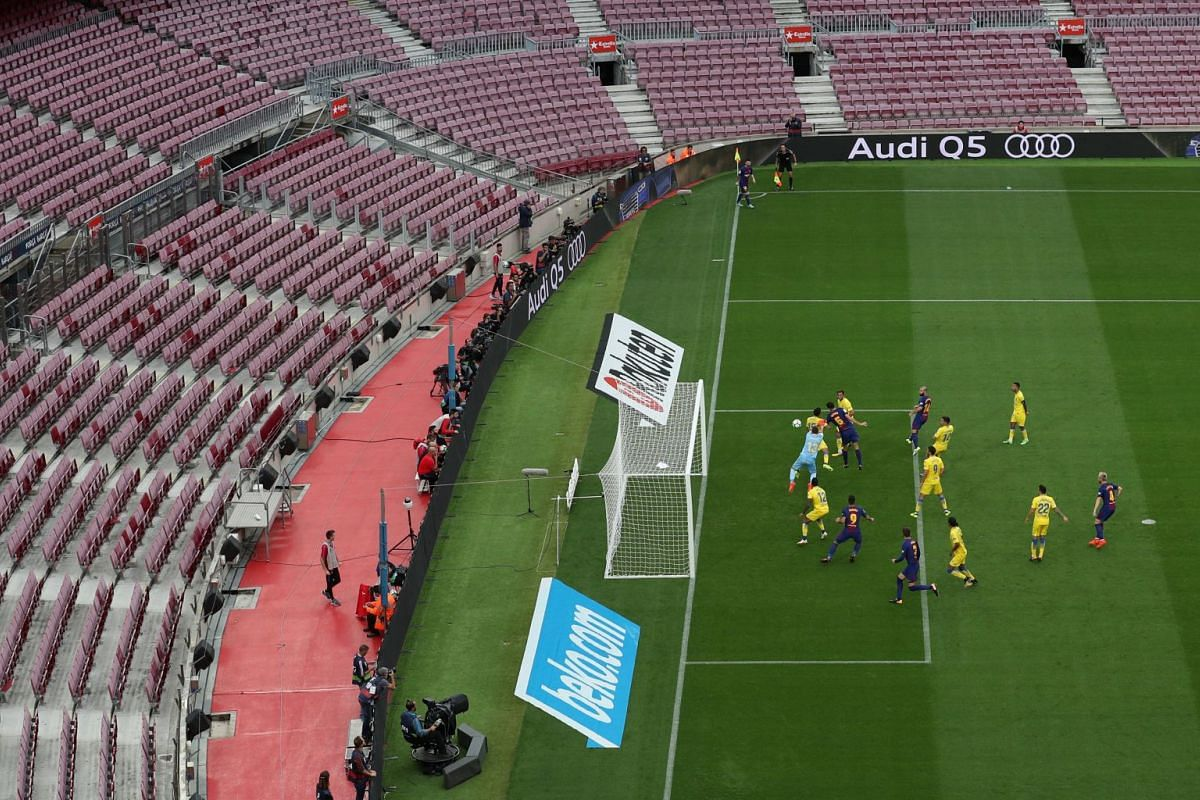 Barcelona's La Liga game against Las Palmas in Barcelona, Spain, was played behind closed doors as a protest after their request for it to be postponed in light of Catalonia's independence referendum was rejected, October 1, 2017. PHOTO: REUTERS
