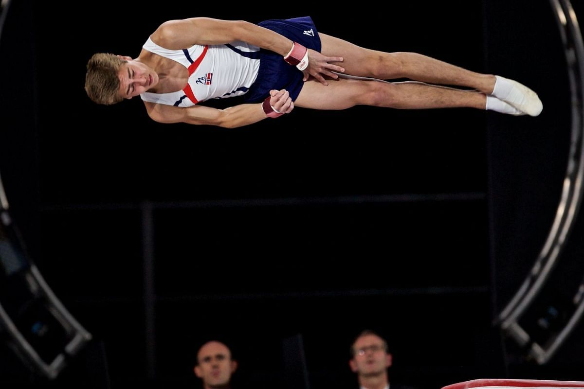 Harald Grimsrud Wibye of Norway competes in the vault at the FIG Artistic Gymnastics World Championships in Montreal, Canada, Oct 02, 2017. PHOTO: EPA-EFE