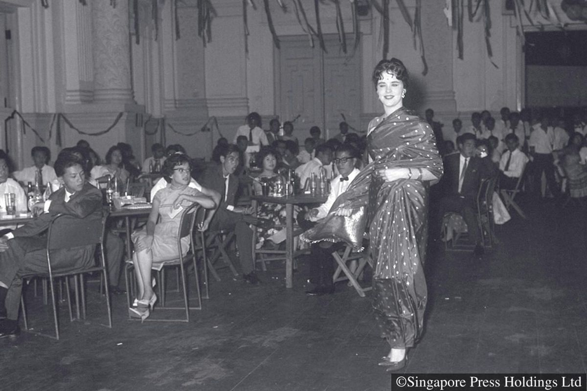1960: Queen of Light contest at the Deepavali Ball in Victoria Memorial Hall.