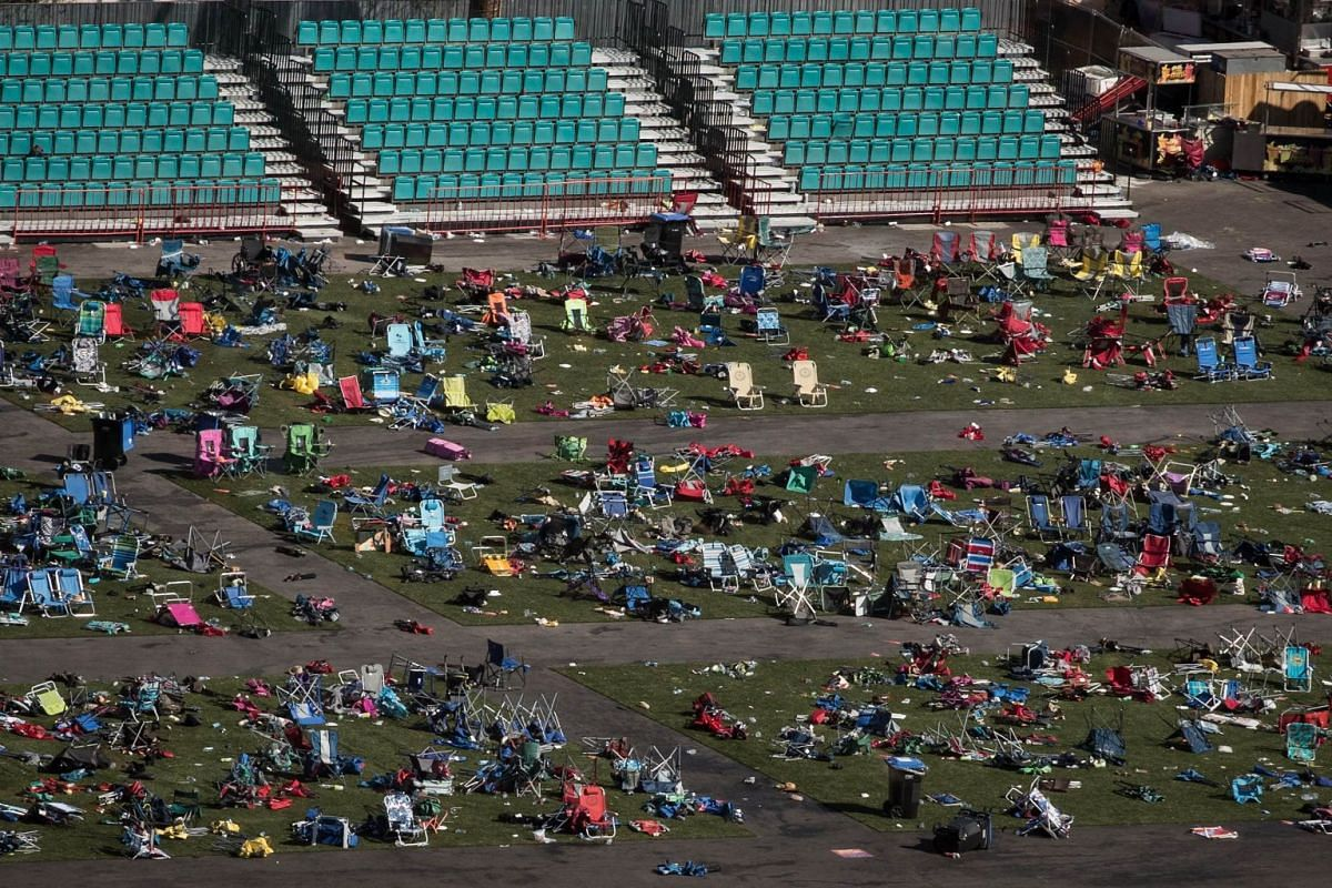 Belongings left behind at the site of the mass shooting at the Route 91 Harvest Festival, Las Vegas, US, Oct 3, 2017.  PHOTO: AFP