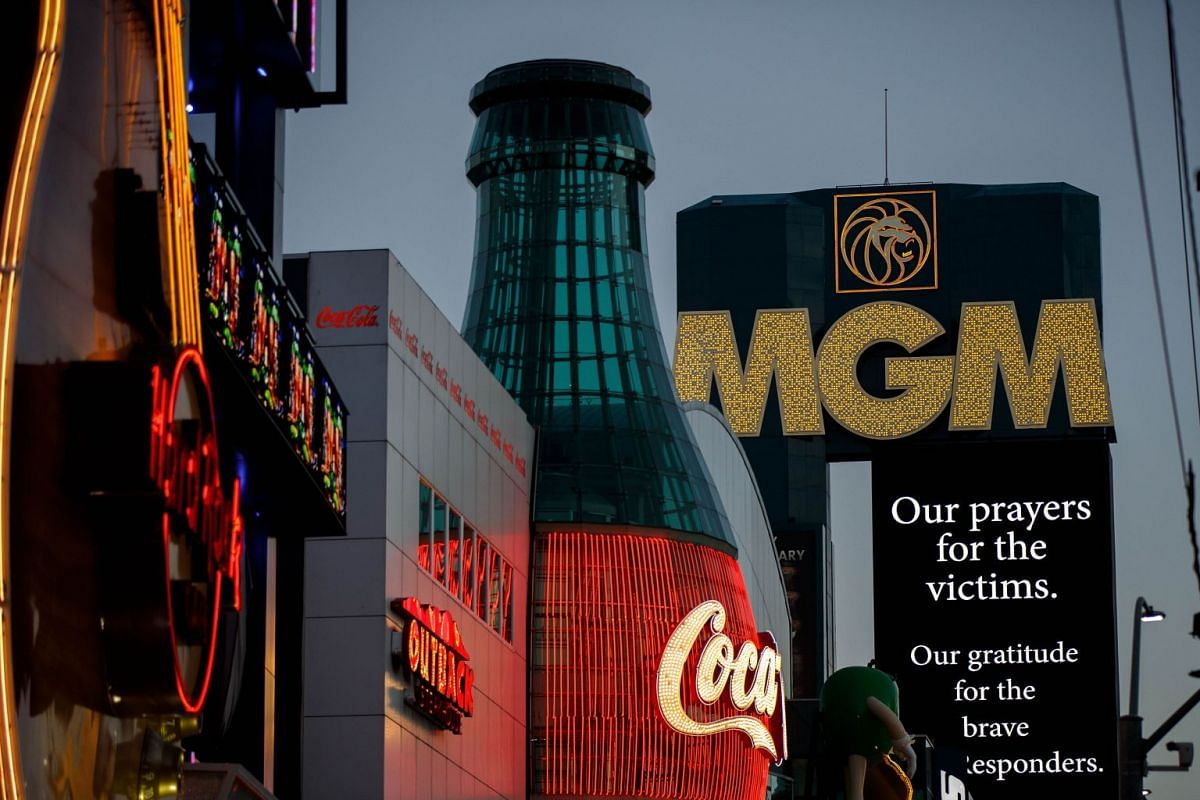 A condolence message for the victims of Sunday night's mass shooting is displayed outside the MGM Grand Hotel & Casino, Las Vegas, US, Oct 3, 2017. PHOTO: AFP