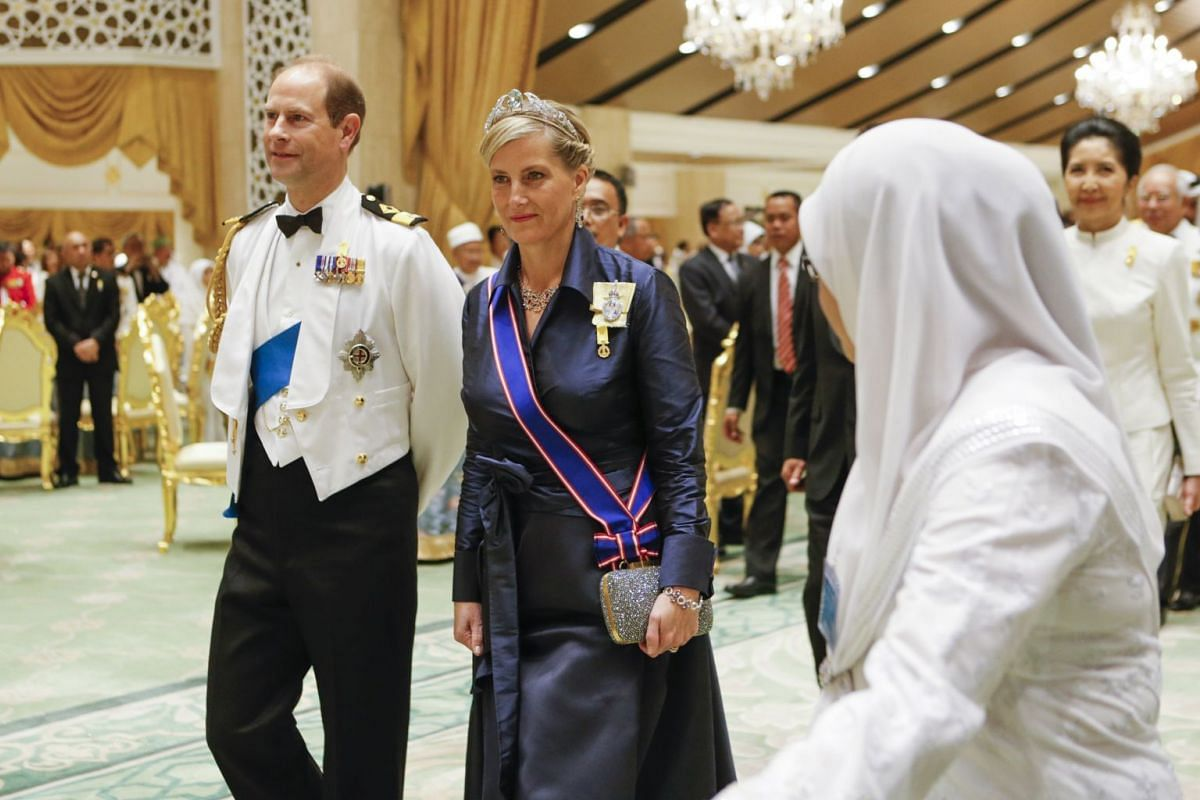 HRH Prince Edward, Earl of Wessex and HRH Sophie Countess of Wessex arrive for the royal banquet as part of the Golden Jubilee celebrations at Sultan's palace in Bandar Seri Begawan, on Oct 6, 2017.
