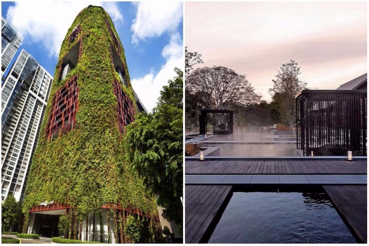 Oasia Hotel Downtown (left) and luxury resort and onsen spa Amanemu have been awarded Building Of The Year at this year's annual Singapore Institute of Architects (SIA) Architectural Design Awards.